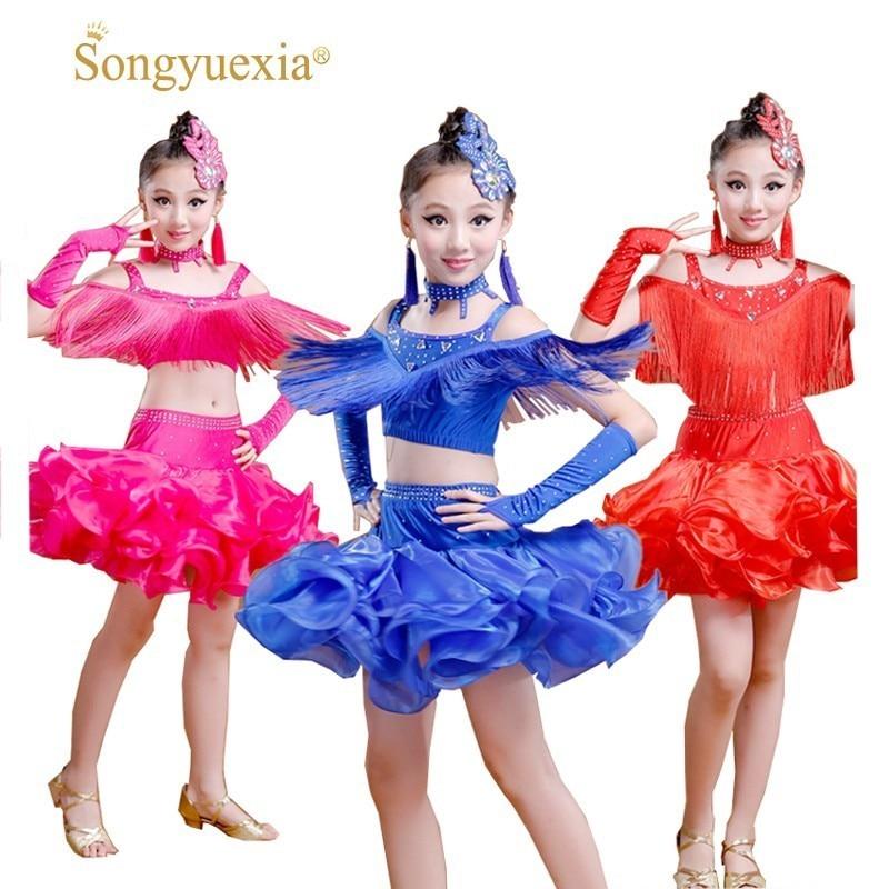 Songyuexia New Children Latin Dance Dress Salsa Tango Ballroom Costumes Sequined Tassels Dancwear Girl Latin 3