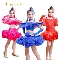 Songyuexia New Children Latin Dance Dress Salsa Tango Ballroom Costumes Sequined Tassels Dancwear Girl Latin 3 Colors 110 160cm