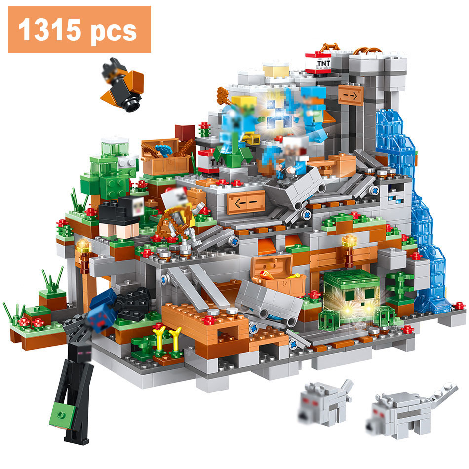купить My World Mountain Cave Building Blocks Compatible LegoINGLYS Minecrafted Mini 21137 Aminal Alex Figures Bricks Toys For Children недорого