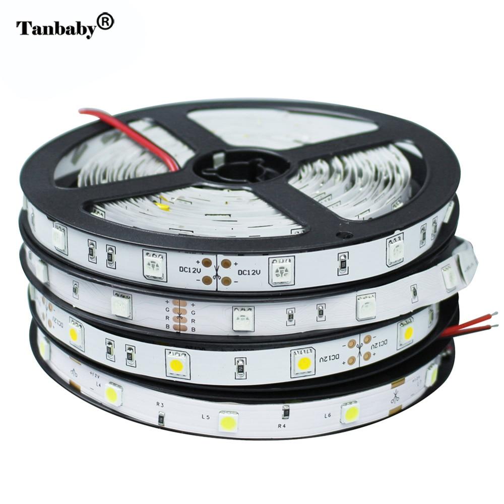 DC12V Led Strip Light Flexible Ribbon 5M 150Leds 5050 SMD Lamp Non-waterproof White RGB String LED Light Tape Bar Home KTV Decor