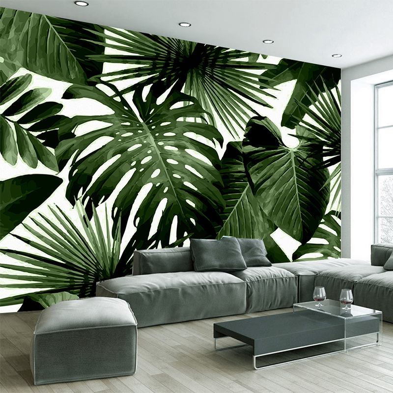3D Self-Adhesive Waterproof Canvas Mural Wallpaper Modern Green Leaf Tropical Rain Forest Plant Murals Bedroom 3D Wall Stickers