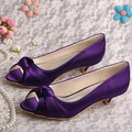 (20 Colors)Wedopus Custom Handmade Bridal Low Heel Shoes Purple Satin Wedding Pumps