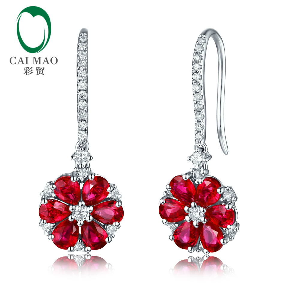Caimao Jewelry Natural 2 65ct Ruby H SI Diamond Engagement Wedding Drop Earrings Gorgeous