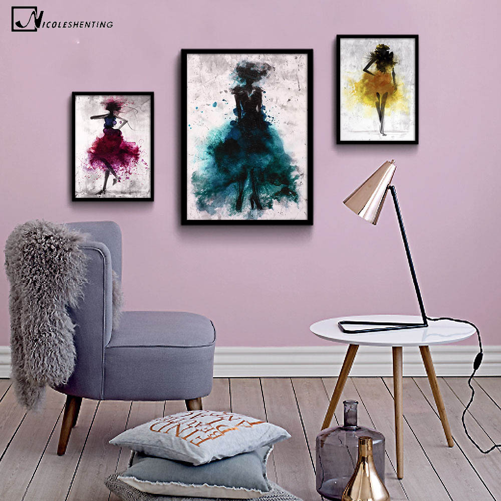 NICOLESHENTING Fata de moda Minimalist Art Canvas Poster Print Rezumat Chineză Ink Painting Acuarelă Picture Home Decoration