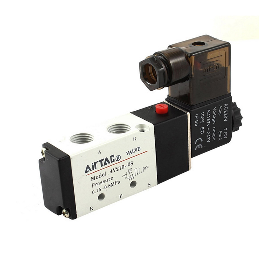 1/4  airtac air solenoid valves 4v210-08 dc24v 2 position 4 way 5 port pneumatic control valve