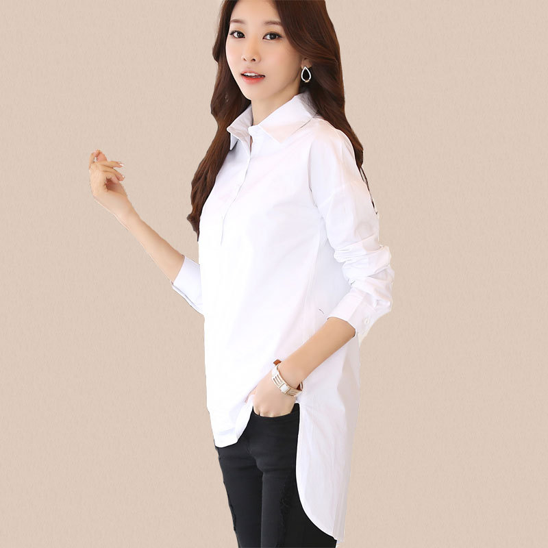 82f9455d Irregular Pullover Tops Winter Autumn Basic Long White Blouse Dress Women  Casual Loose Turn Down Collar Long Sleeve Cotton Shirt-in Blouses & Shirts  from ...