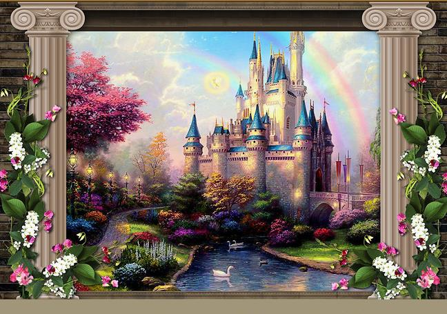 Photo collection fairytale castle wallpaper fairy for Fairy tale wall mural