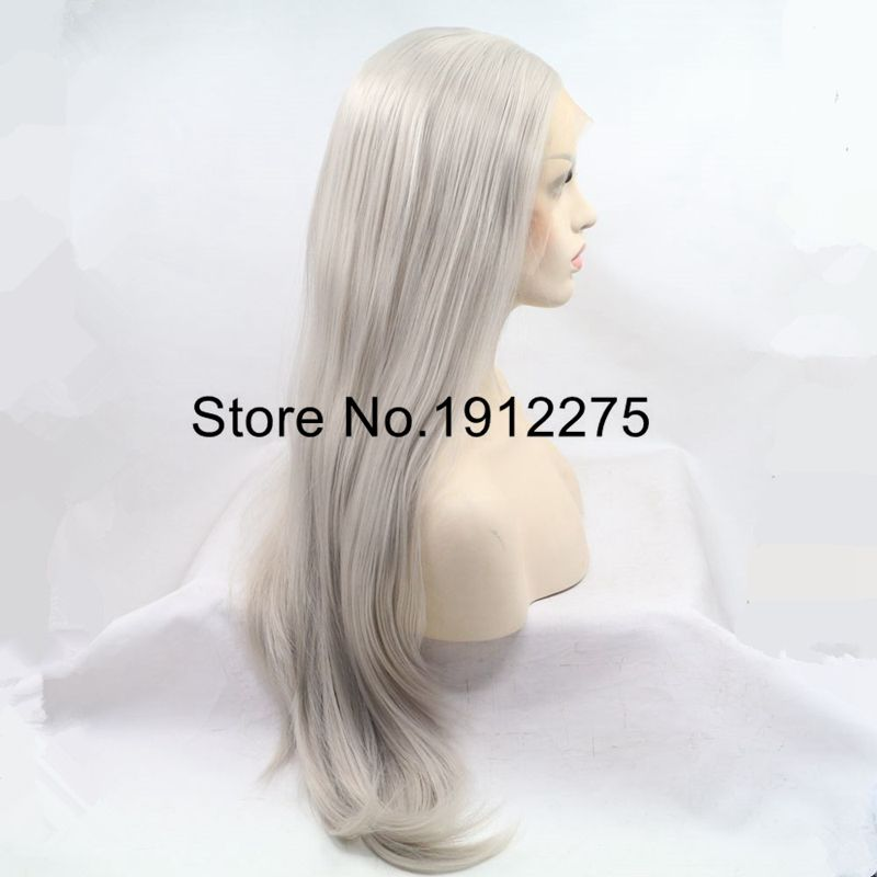 Sylvia Ash Platinum Blonde Natural Straight Synthetic Lace Front Wigs Middle Part Long Heat Resistant Fiber Hair Half Hand Tied