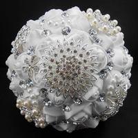 Hermosas Flores De La Boda Ramos de Novia Artificial Ramo de La Boda de Cristal Brillan Con Perlas de Marfil Blanco buque de noiva
