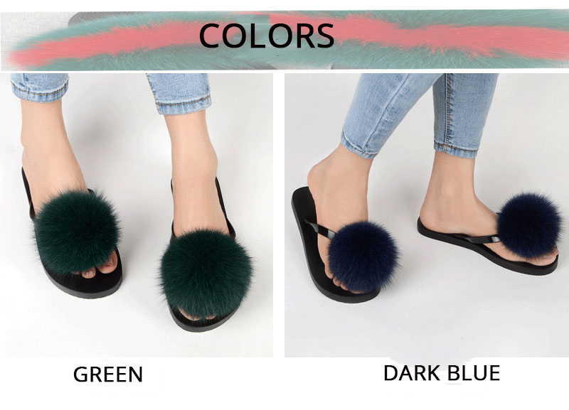 351032df490a5 Detail Feedback Questions about Coolsa Summer Women Flip Flops Fox Fur  Slippers Fluffy Fur Pompom Slides Flat Cute Woman Slippers Ladies Casual  Beach ...