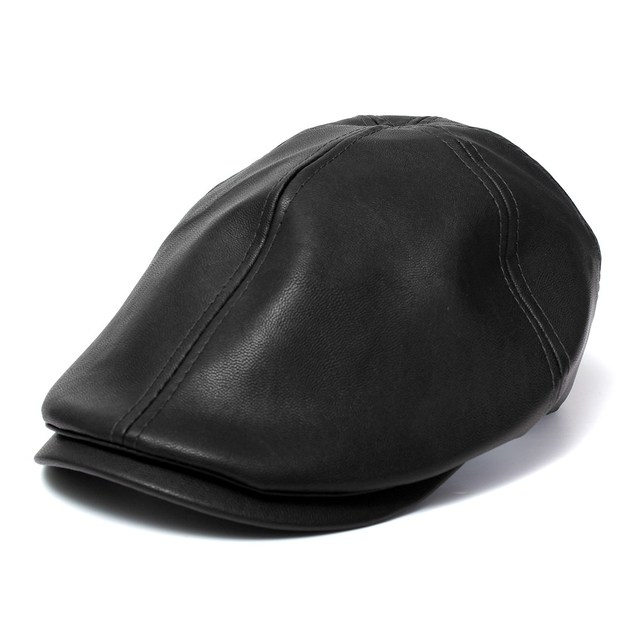 c8760c88c4f Fashion Leather Ivy Cap Men Women Fall Winter Bonnet Newsboy Beret Cabbie  Gatsby Flat Golf Hat