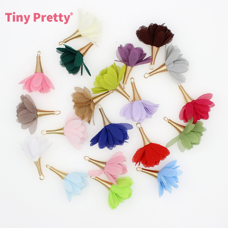 20PCS Chiffon Flower Tassels Charms Finding for Party Decoration, DIY Jewelry Making Supplies(China)