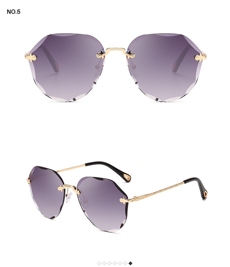 HTB1JmvvKSzqK1RjSZFLq6An2XXak AEVOGUE Sunglasses For Women ladies Rimless Diamond cutting Lens Brand Designer Ocean Shades Vintage Sun Glasses AE0637