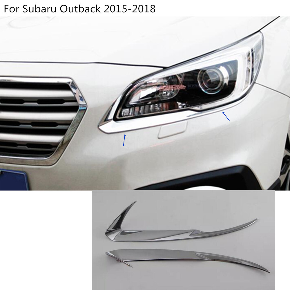 Car styling head front eyebrow trim light font b lamp b font frame stick ABS Chrome