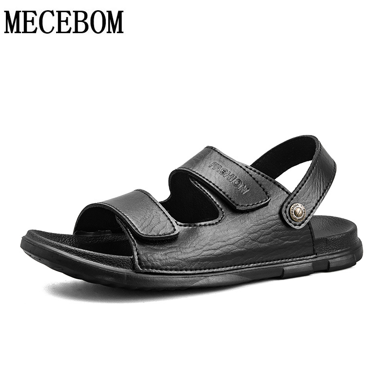 New Summer Black white Mens PU Sandals for male slip-on Slippers men leather shoes size 38-45 8805m