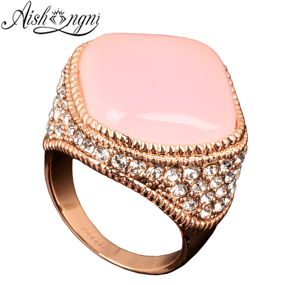Big Rings for Women Pink Semi Precious Stones Ring Gift Jewelry Rose ...