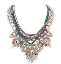 Alta calidad de aleación de flor collar y colgantes Rhinestone choker collar de collar women party maxi collar de colar femenina