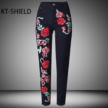 ladies Cotton Jeggings 3D Flower embroidery feminine denims High waist straight Ladies Casual denim pants Fashion Black trousers