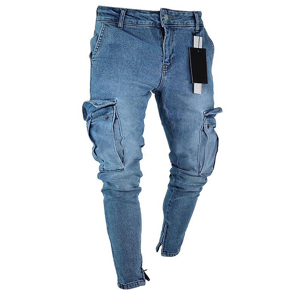 Men's jeans trend knee hole zipper feet pants hi road men knee eversion