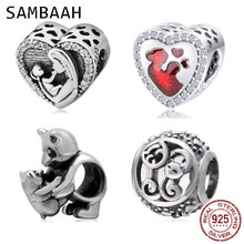 Sambaah Mother and Baby Heart Charm with CZ 925 Sterling Silver Mom Baby Love Beads fit Original Pandora Mother's Day Bracelet