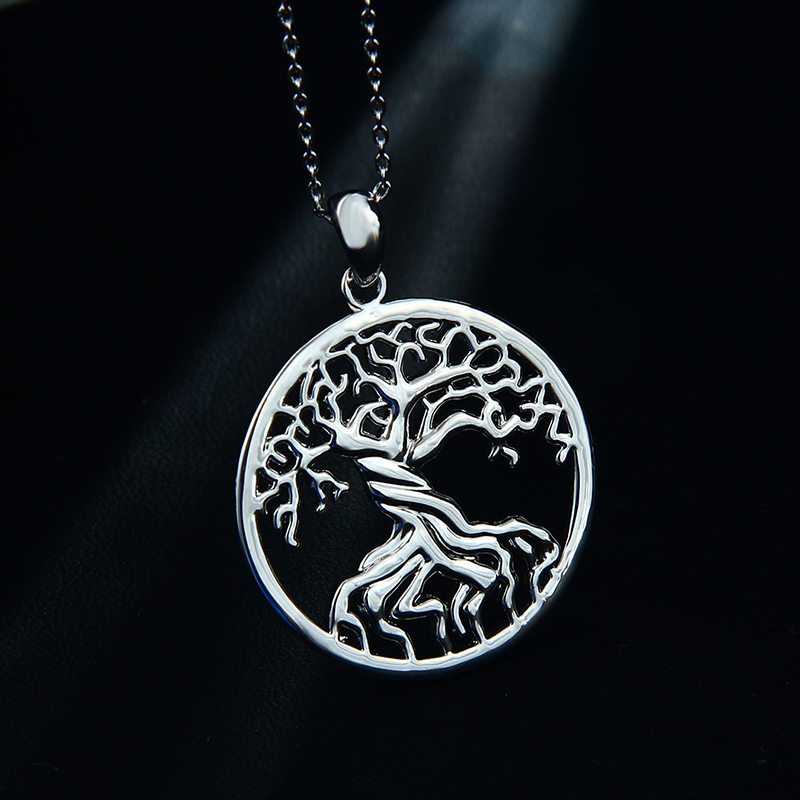 Shineland Antique Tree Of Life Necklace Gold&Silver Plated Pendant Necklaces Memory Locket Charm Women Vintage Jewelry Wholesale