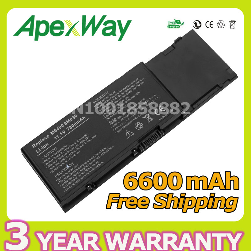 Apexway 6600mAh 9 cell Laptop Battery for DELL Precision M6400 M6500 312-0873 C565C KR854 8M039 DW842 apexway 6600mah 9 cell laptop battery for dell btyvoy1 for alienware m17x r3 r4 mx 17xr3 mx 17xr4 318 0397 451 11817 7xc9n c0c5m