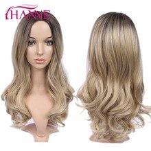 дешево✲  HANNE Длинные волнистые синтетические парики Ombre Blonde / Grey / Brown / Pink Natural Wig Парики  Лучший!
