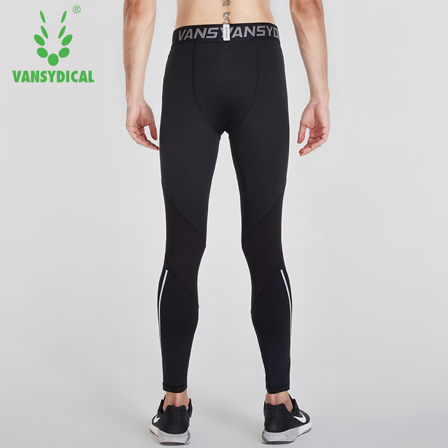 Vansydical Mens Running Tights Quick Dry Basketball Gym Pants Reflective Bodybuilding Jogger Trouser Compression Sports Leggings 5
