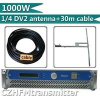 FMUSER 1000 Вт 1kw fm передатчик DV2 высоким коэффициентом усиления антенны + 30 метров e rf кабель комплект