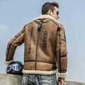 B3 Air Force Flight Suit Lapel Thick Short Jacket Men's Fur One Jacket Double-Faced Fur Men's Leather Jackets