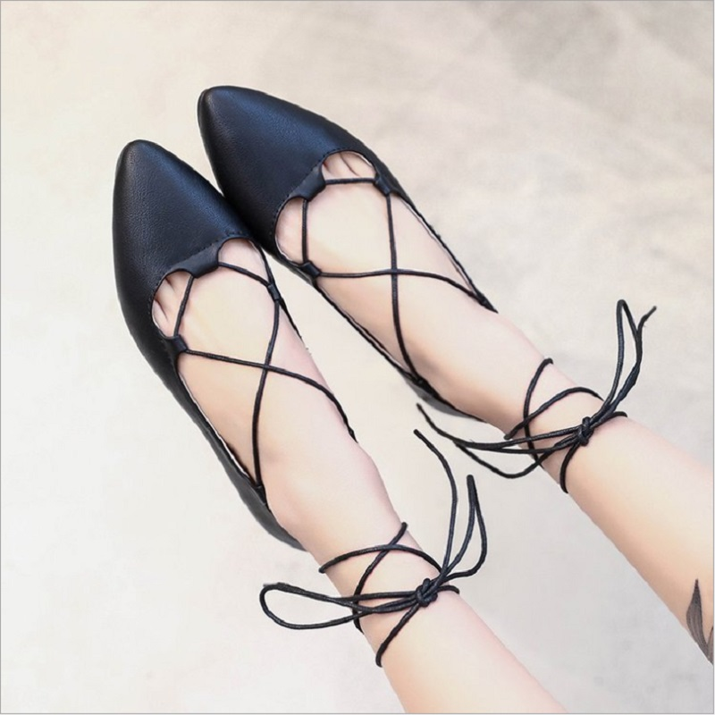Summer Spring Girl's Fashion Cross-tied Ankle Lace-up Ballet Flats Women Pointed Toe Casual Shoes Flat With Q0110 drfargo spring summer ladies shoes ballet flats women flat shoes woman ballerinas pointed toe sapato womens waved edge loafer