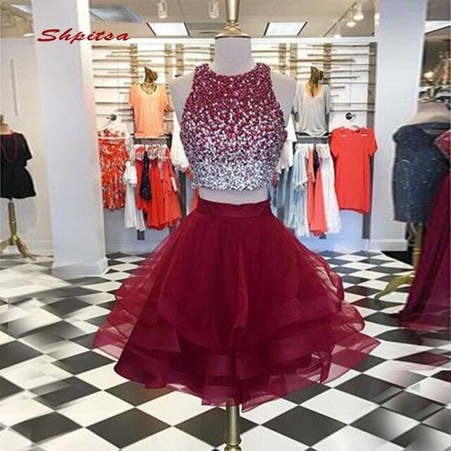 Luxury Burgundy Short Homecoming Dresses Mini Women Sequin Plus Size ...