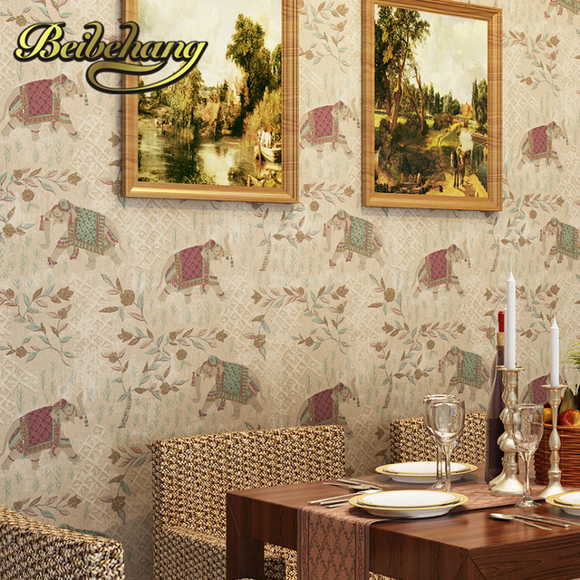 beibehang wall paper Puna American country imported high environmental Pure paper wallpaper Southeast Asian elephants living ro