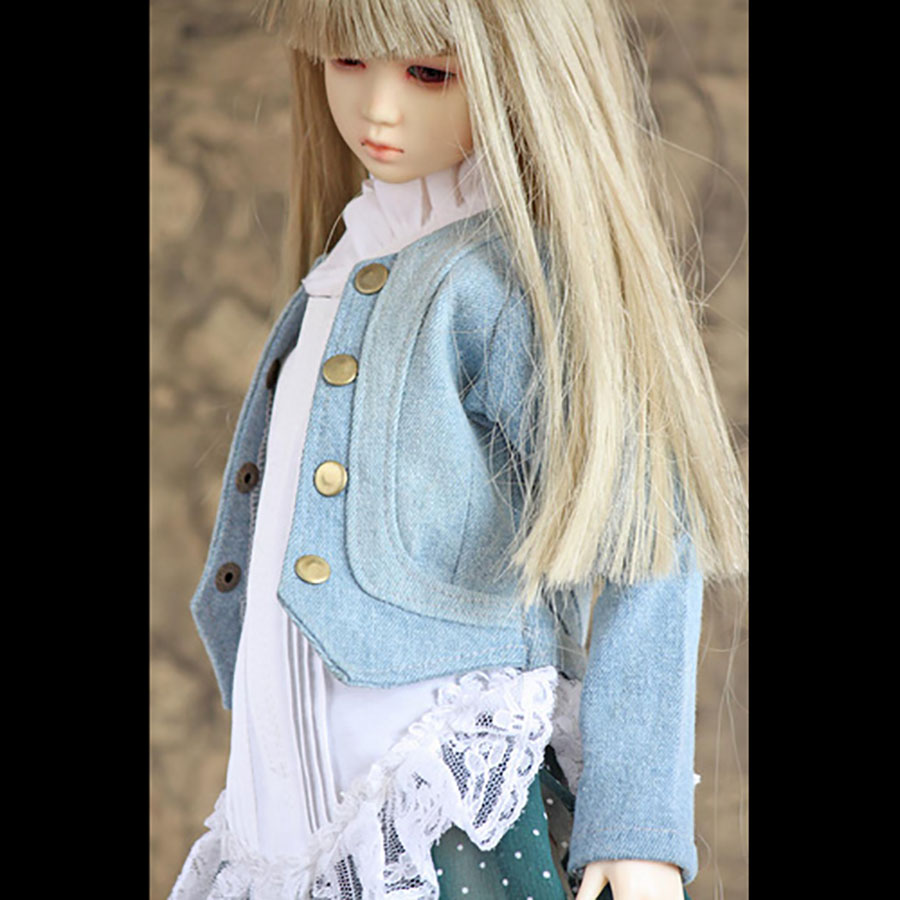Bybrana <font><b>1/3</b></font> msd dz <font><b>bjd</b></font> sd dd dddy doll use <font><b>Clothes</b></font> Denim jacket + White lace shirt image