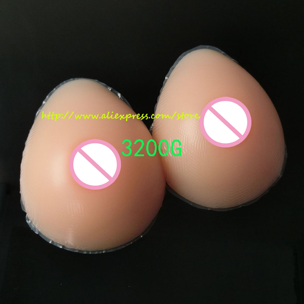 New Silicone 3200g/Pair Huge Artificial Breast Form Fake False Boobs Chest Prosthesis Water Drop With Gift Bag 6000g pair suntan water drop realistic silicone artificial breast forms huge boobs huge breast for art show costume