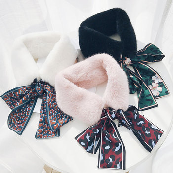 Fashion Chiffon Leopard Scarf  For Children Girls Winter Warm Plush Faux Fur Scarf With Ribbon Strap Collar High Quality