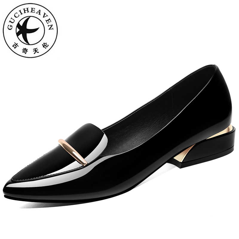 new arrivals 47195 db177 Guciheaven Women Shallow Pumps Office Pointed Toe Slip-On Dress Shoes Low  Heels 2.8cm Mirror Surface Patent Leather Red Sole