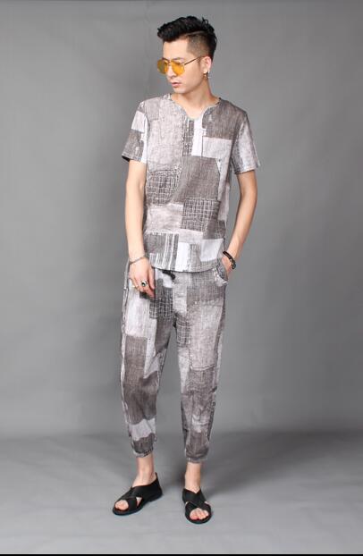 2018 nuevo estilo de pelo de estilista T shirt traje de verano de material de cáñamo de manga corta 9 minutos pantalones traje de marea L 4XL - 6