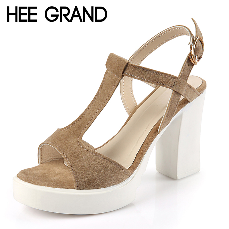 HEE GRAND 2017 Summer Gladiator Sandals Platform Shoes Woman Suede Sexy High Heels Casual Buckle Women Shoes Pumps XWZ4222 hee grand lace up gladiator sandals 2017 summer platform flats shoes woman casual creepers fashion beach women shoes xwz4085