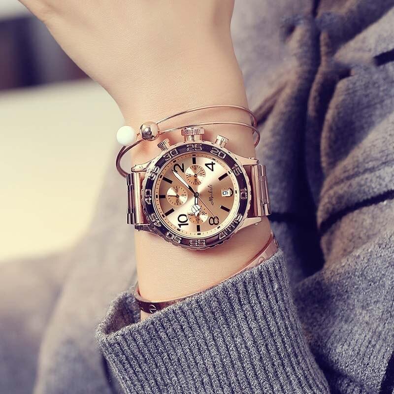 Topo de Luxo Relógios de Pulso Vestido de Cristal Rosa de Ouro Relógios Masculinos Moda Feminina Seis-pin Grande Dial Casuais Novo Relógio Feminino 2019