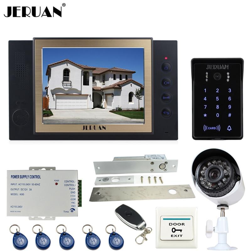 JERUAN 8`` Video Door Phone Recording intercom System kit RFID Password keyboard Access Camera +700TVL Analog Camera 8GB SD 2V1