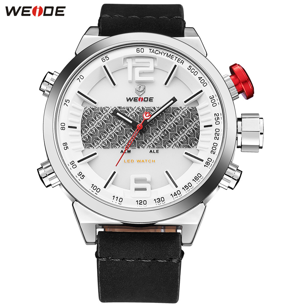2018 Fashion WEIDE Business Watch Men Digital Quartz Watches LED Leather Band Mens Dual Time Display Wristwatches Orologio Uomo weide wh 1008 men s quartz & led electronics dual time display wrist watch black 1 x cr2016