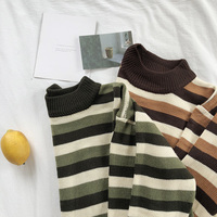 Mooirue Autumn Winter Female Korean Style Jumper Stripe Thin O Neck Knitting Loose Pullover Feminine Green Brown Sweater Tops