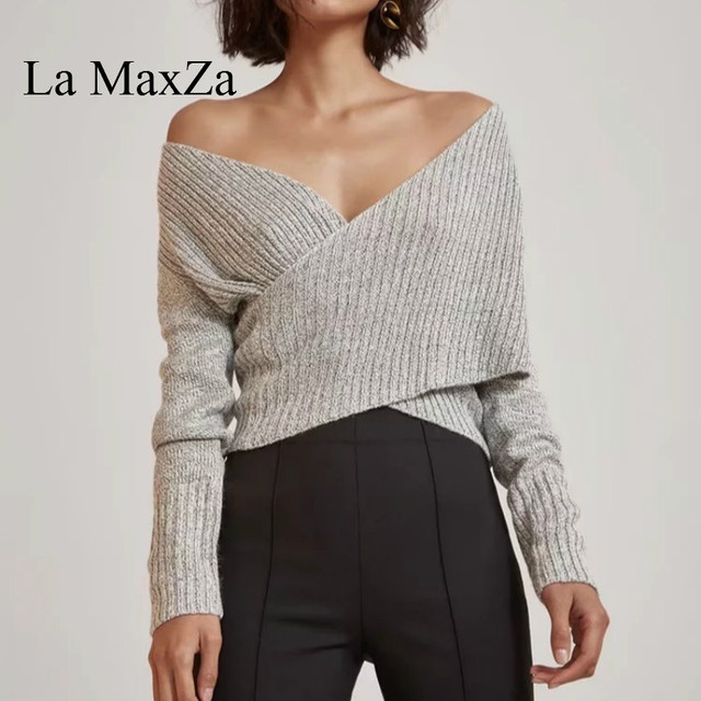 5498e18129db6 Cross V Neck Long Sleeve Knitted Sweater La MaxZa 2018 Spring Autum Wear  Fashion Design Normcore Style Solid Pullovers