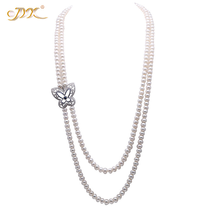 JYX 2019 balention 2-Strands Necklace with pearl 7.5-8.5mm White Freshwater Cultured Pearl Women Long Opera NecklaceJYX 2019 balention 2-Strands Necklace with pearl 7.5-8.5mm White Freshwater Cultured Pearl Women Long Opera Necklace