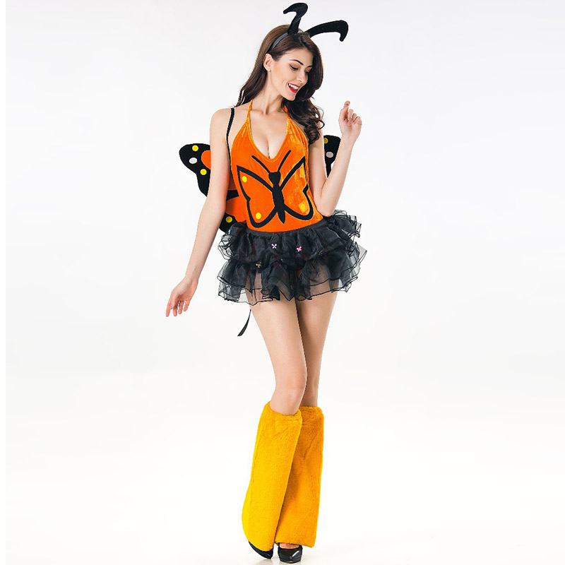 Butterfly Wings and Antenna Headband Set Monarch Style Costume Set Orange