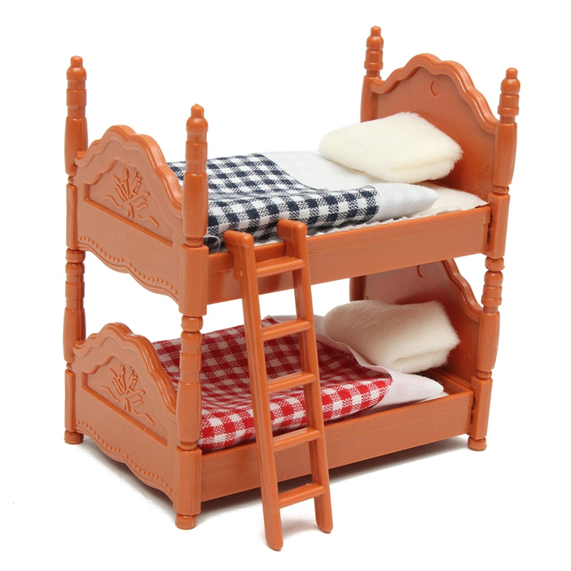 KiWarm Cute 1 Set Miniature Dolls House Furniture Bunk Bed Figurines Ornaments for Home Kids Room Decor Toy Doll Christmas Gift doll house 1 12th scale miniature furniture black hand painted harp and stool set