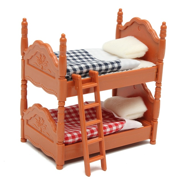 KiWarm Cute 1 Set Miniature Dolls House Furniture Bunk Bed Figurines Ornaments for Home Kids Room Decor Toy Doll Christmas Gift
