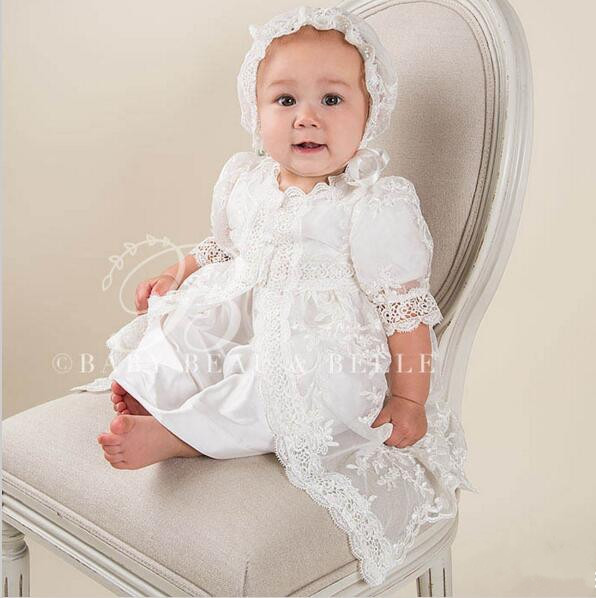 2016 New Baptism Gown White/Ivory Christening Dress 0-24month Baby Girl Boy Robe With Bonnet(Headband) 2016 vintage baby girl christening gown white ivory baptism dress lace applique robe short sleeves 0 24 month
