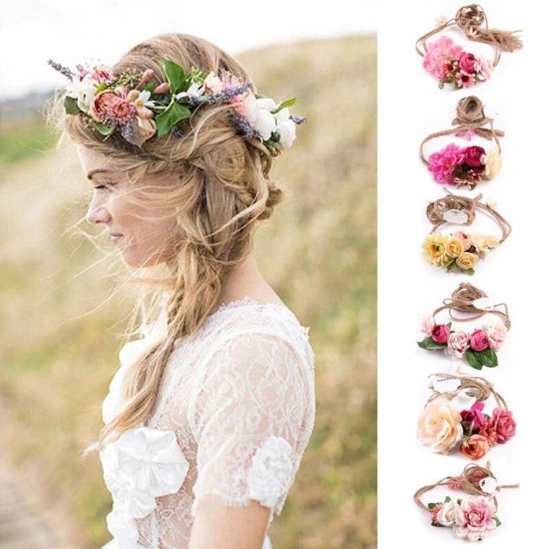 1 Stücke Frauen Mädchen Boho Blume Blumenhaarband Stirnband Kranz Braut Hochzeit Strand Hairwear Die Neueste Mode